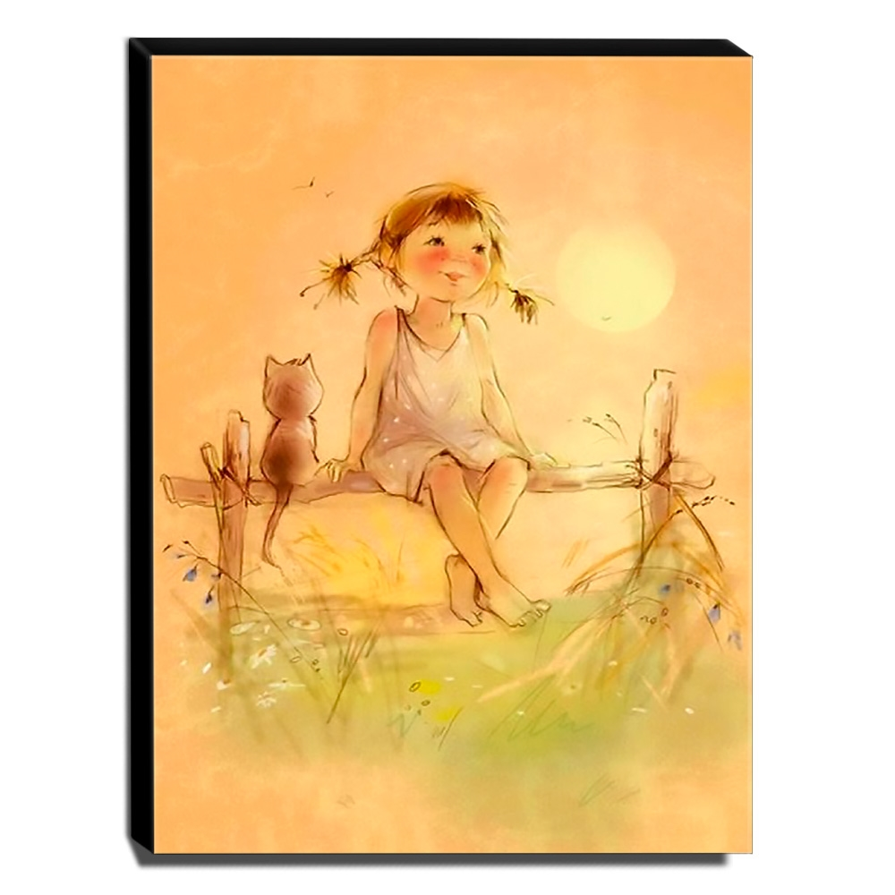 Quadro Infantil Vintage Menina e Gatinho Canvas 40x30cm-INF456