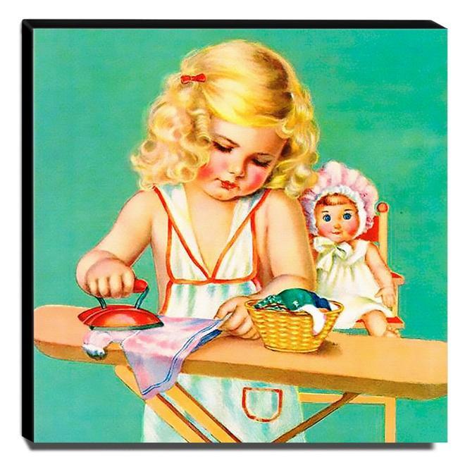 Quadro Infantil Vintage Menina Passando Roupas Canvas 30x30cm-INF479