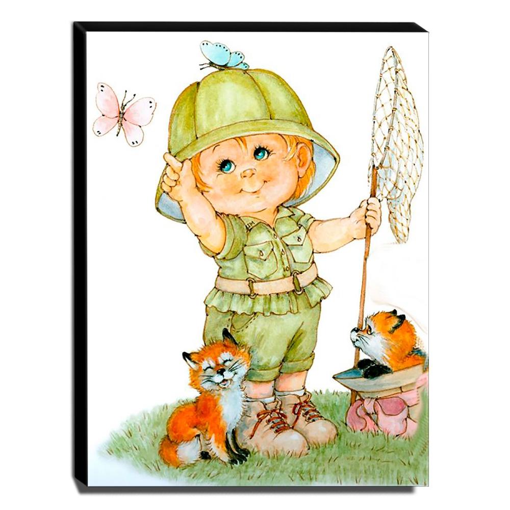 Quadro Infantil Vintage Menino Caçador de Borboletas Canvas 40x30cm-INF445