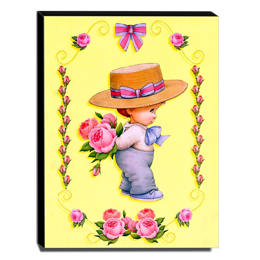 Quadro Infantil Vintage Menino Com Rosas Canvas 40x30cm-INF430