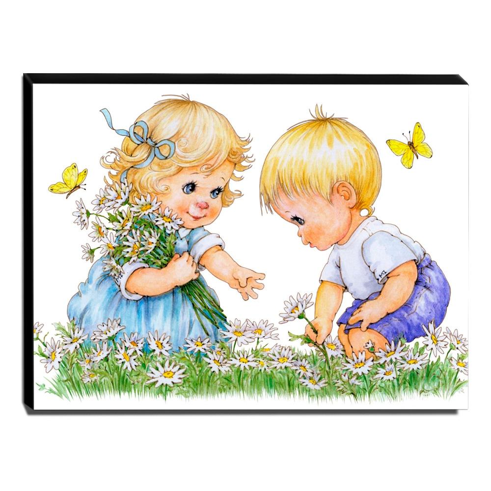 Quadro Infantil Vintage Menino e Menina Canvas 30x40cm-INF447