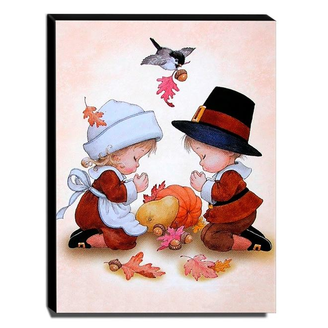 Quadro Infantil Vintage Menino e Menina Rezando Canvas 40x30cm-INF507