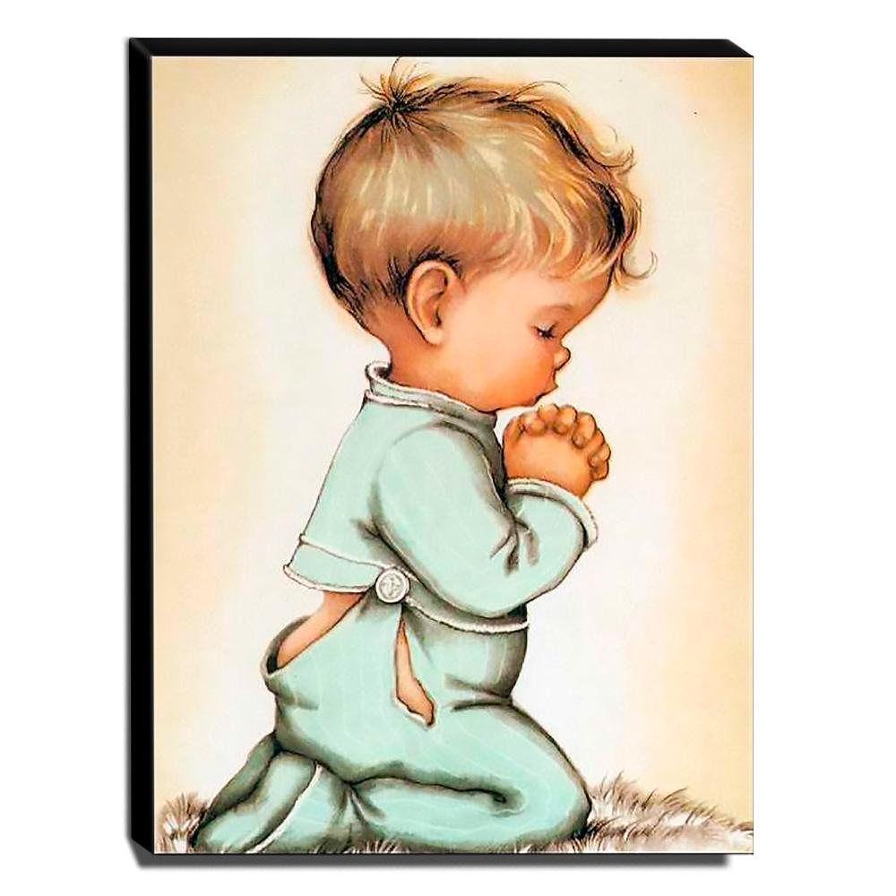 Quadro Infantil Vintage Menino Orando Canvas 40x30cm-INF508