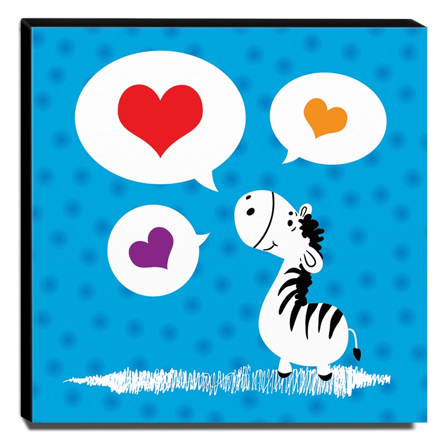 Quadro Infantil Zebra Canvas 30x30cm-INF292