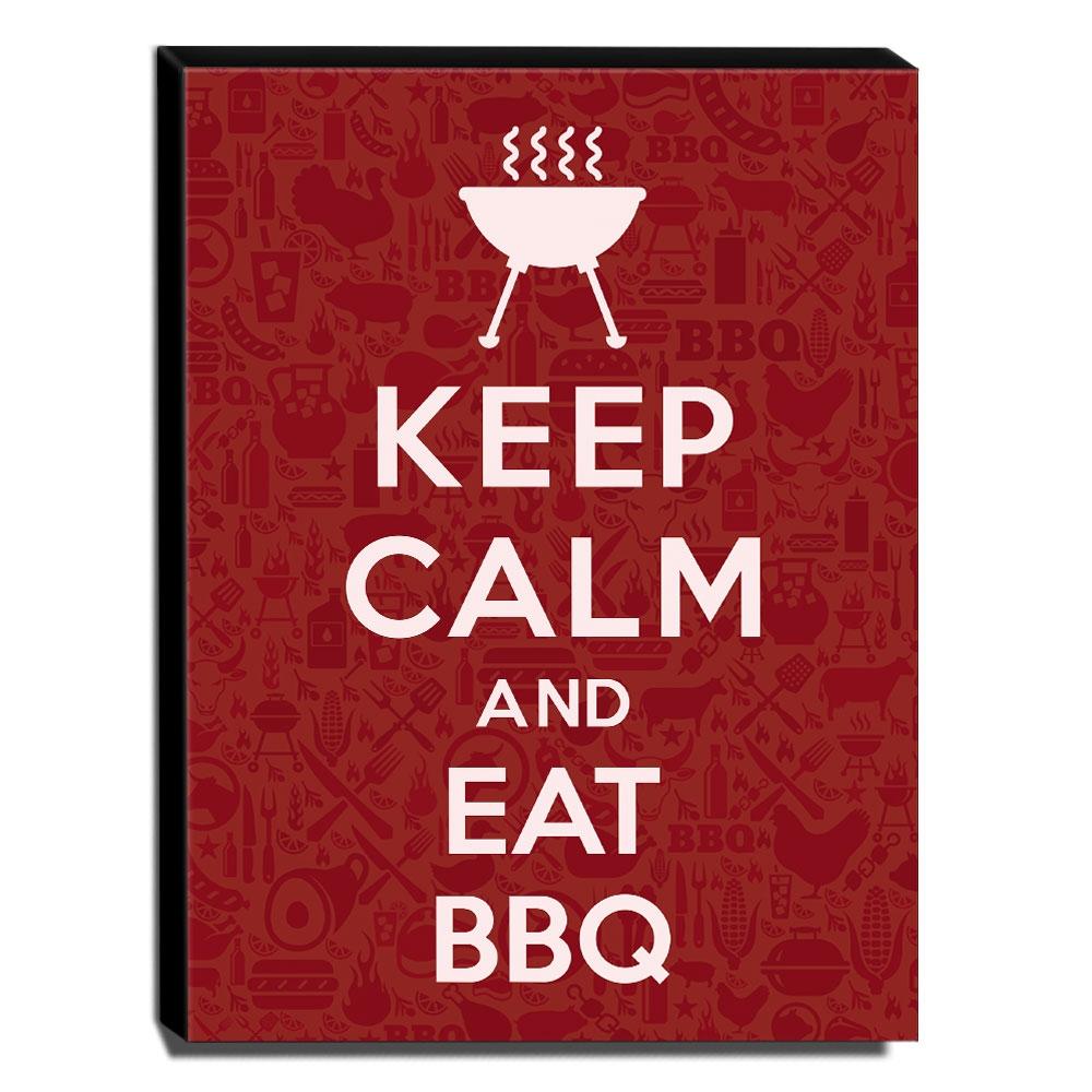 Quadro Keep Calm And Eat BBQ Canvas 40x30cm-KCA70
