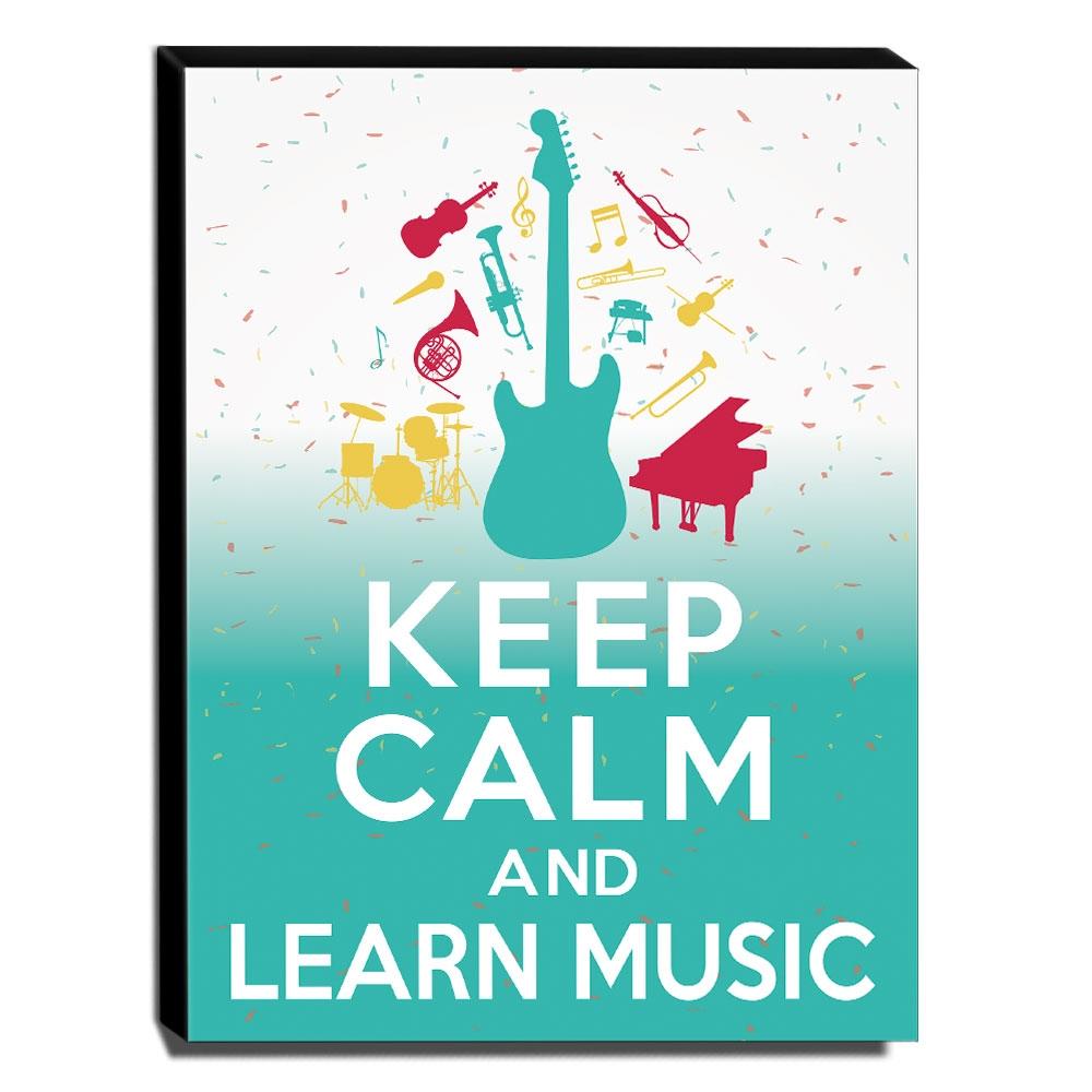 Quadro Keep Calm And Learn Music Canvas 40x30cm-KCA54
