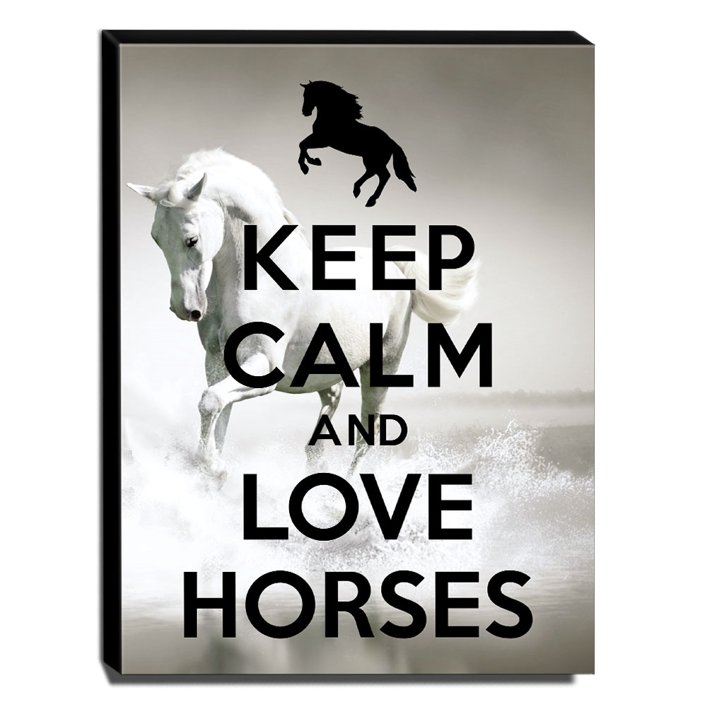 Quadro Keep Calm And Love Horses Canvas 40x30cm-KCA86