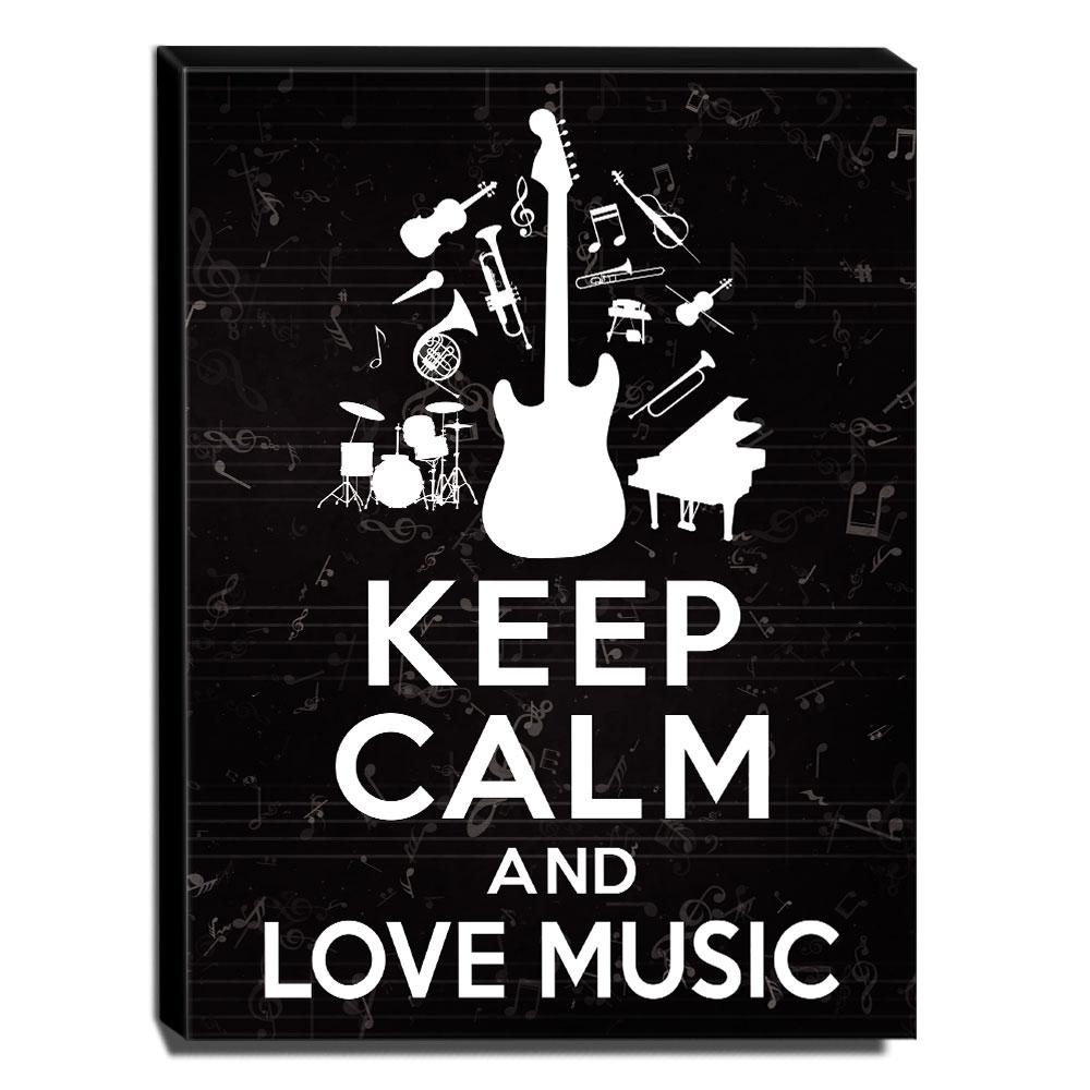 Quadro Keep Calm And Love Music Canvas 40x30cm-KCA44
