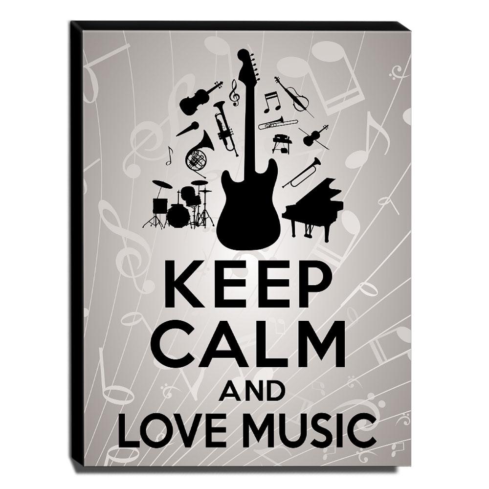Quadro Keep Calm And Love Music Canvas 40x30cm-KCA53
