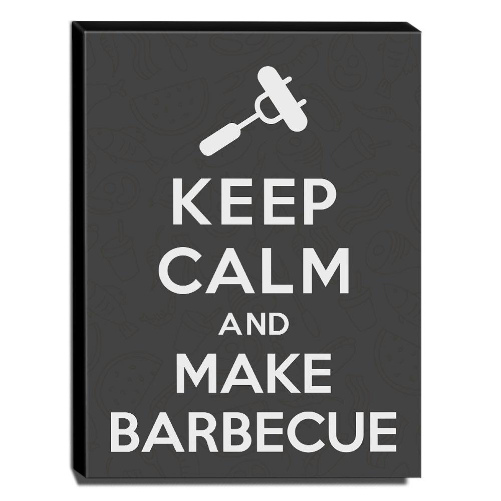 Quadro Keep Calm And Make Barbecue Canvas 40x30cm-KCA74