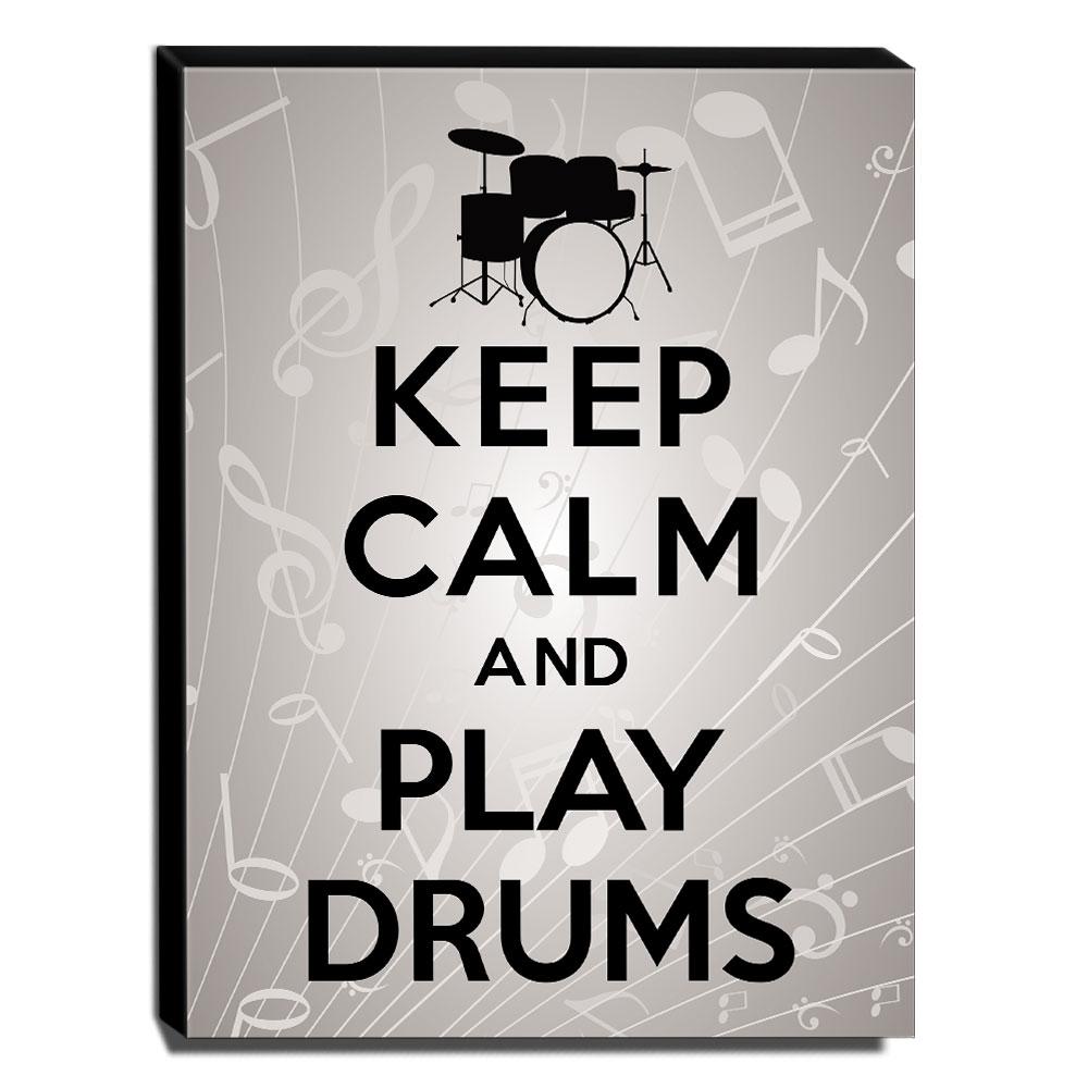 Quadro Keep Calm And Play Drums Canvas 40x30cm-KCA48