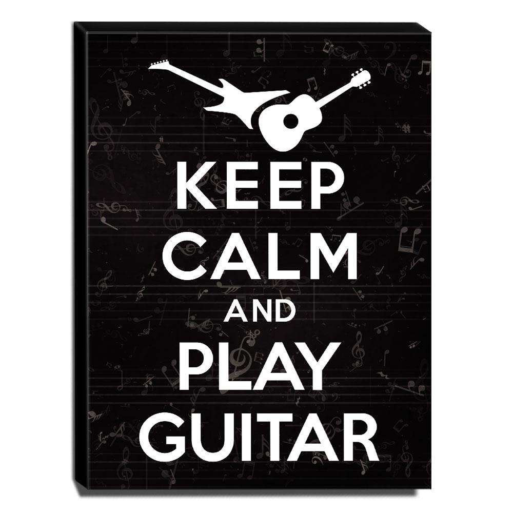 Quadro Keep Calm And Play Guitar Canvas 40x30cm-KCA40