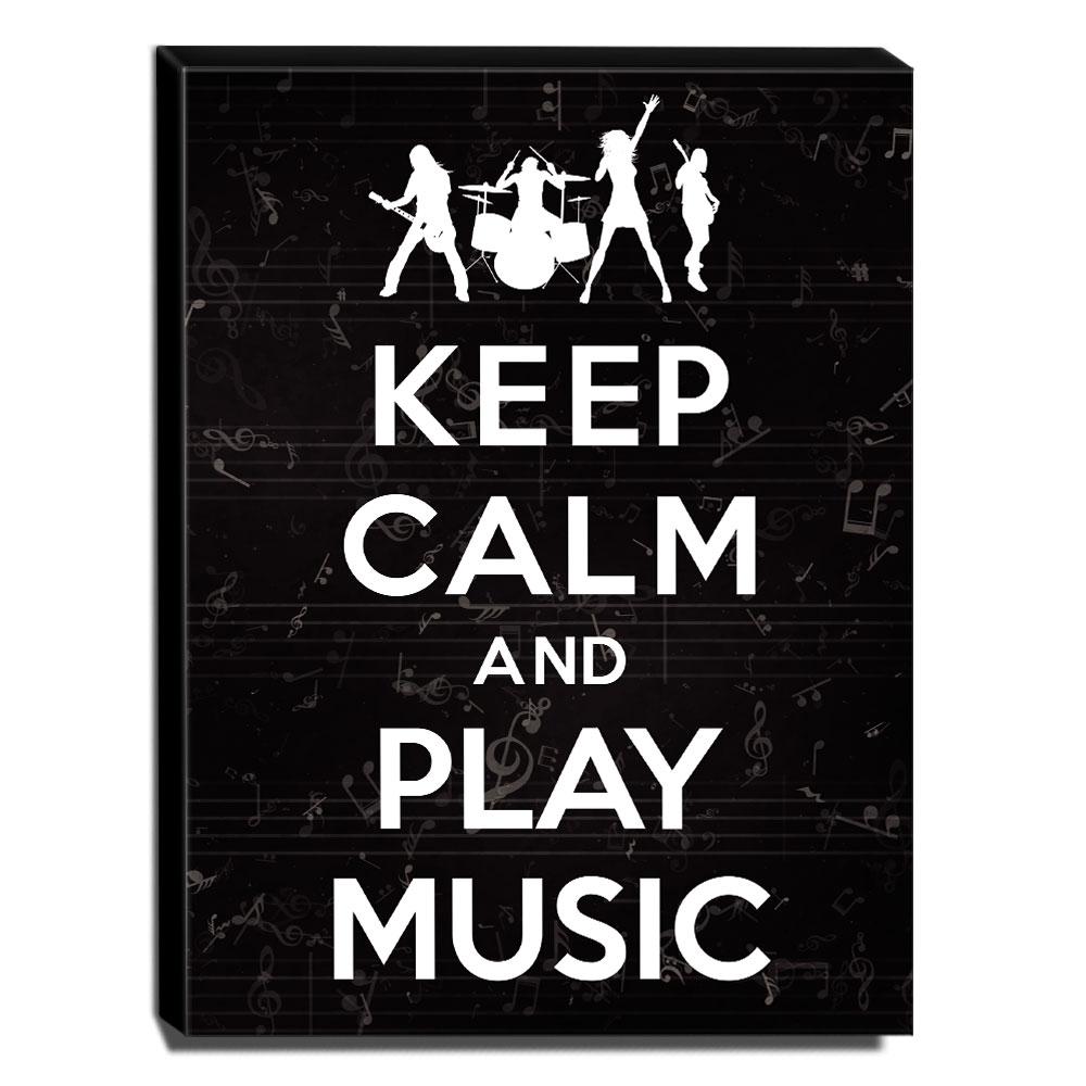 Quadro Keep Calm And Play Music Canvas 40x30cm-KCA37
