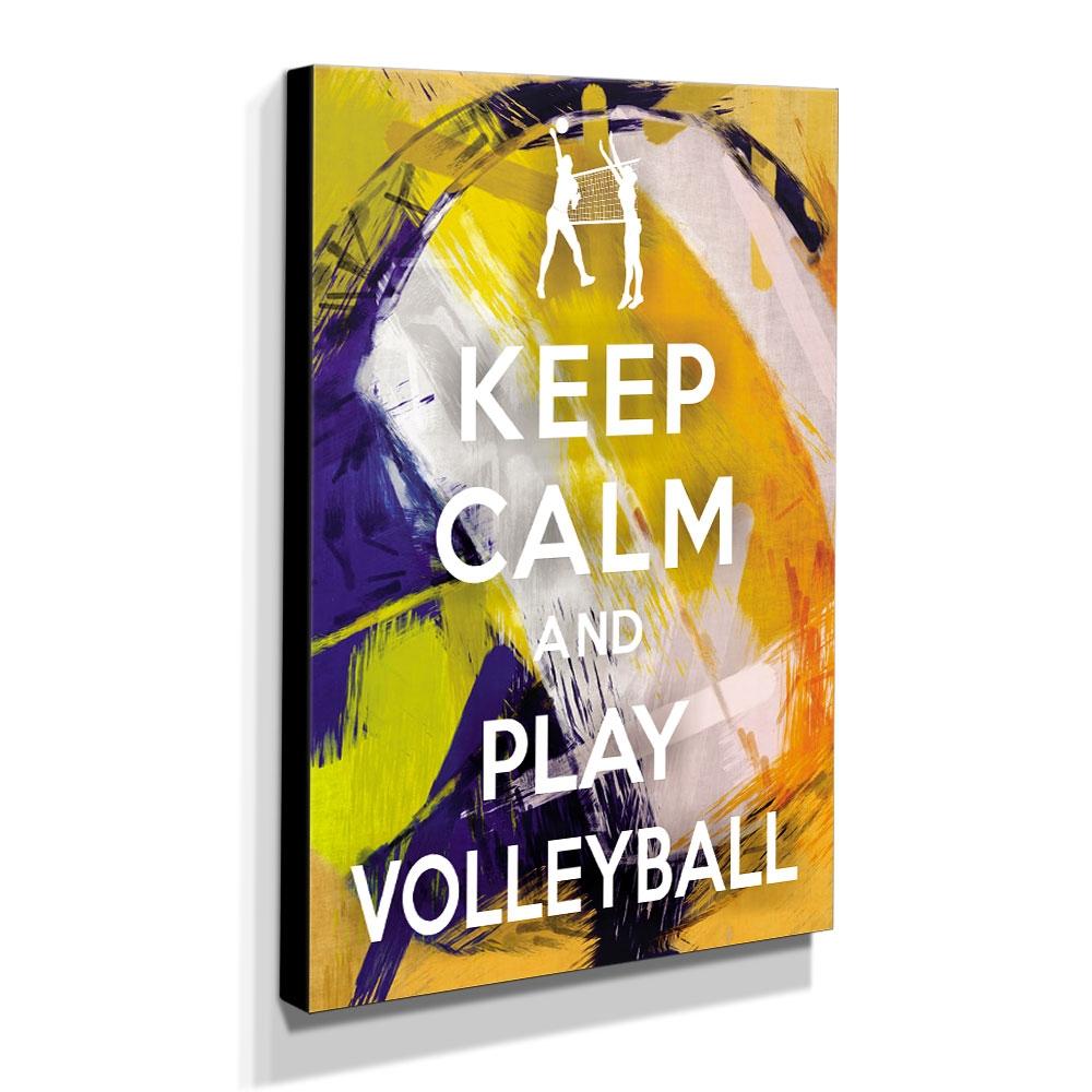 Quadro Keep Calm And Play Volleyball Canvas 40x30cm-KCA95