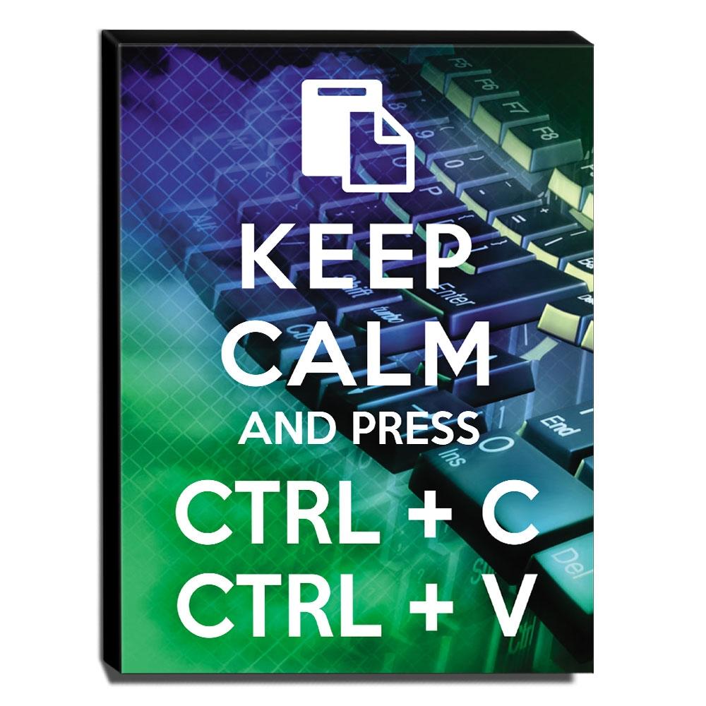 Quadro Keep Calm And Press Ctrl+C Ctrl+V Canvas 40x30cm-KCA107