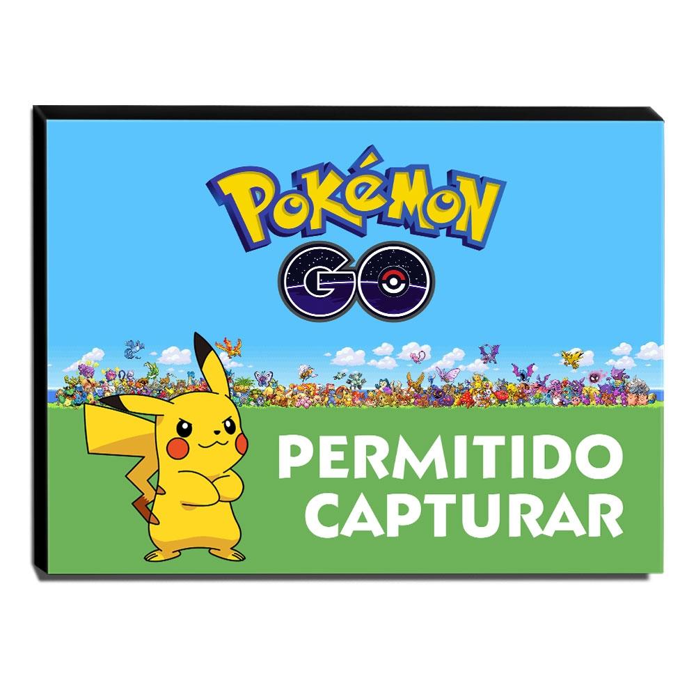 Quadro Pokémon GO Permitido Capturar Canvas 30x40cm-INF26
