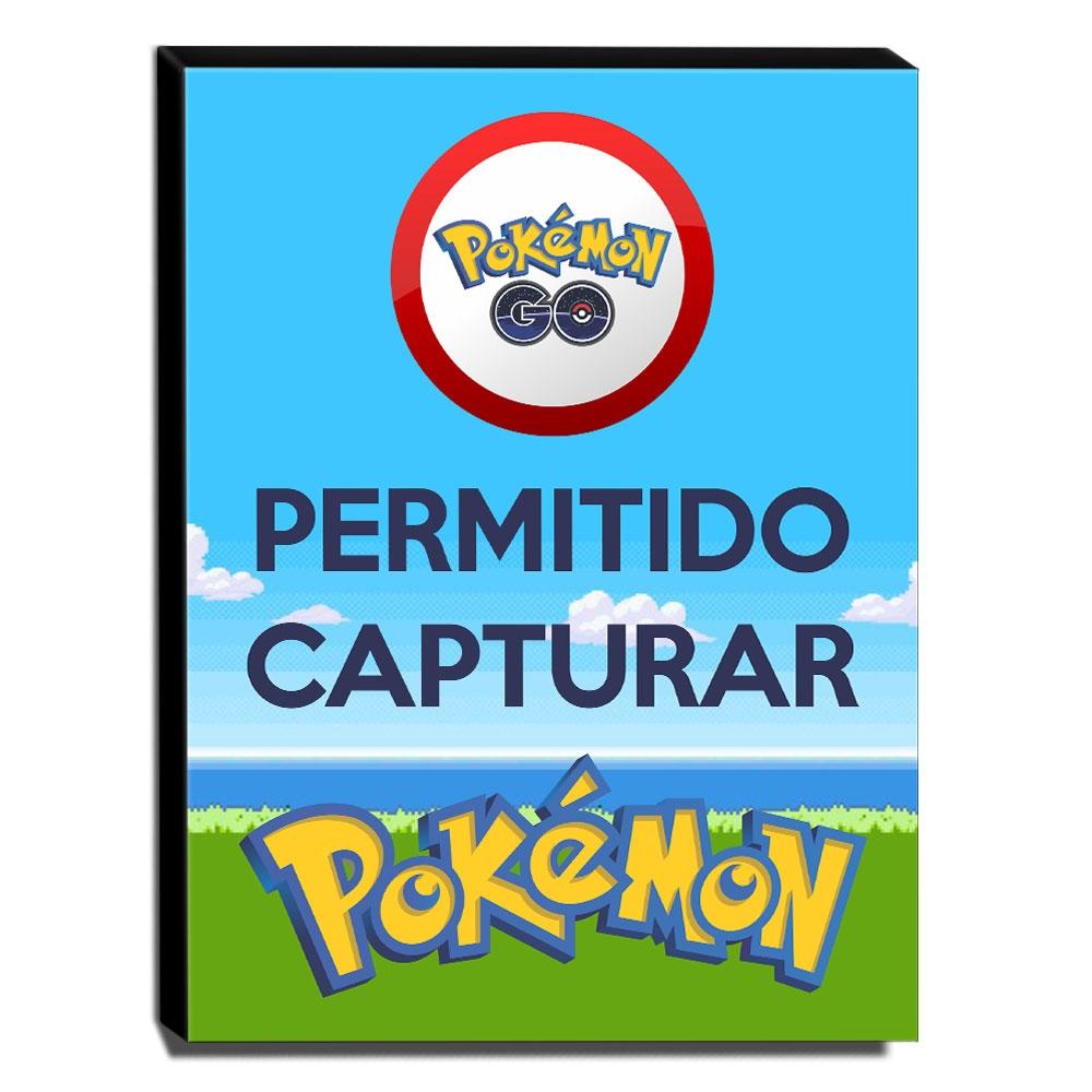 Quadro Pokémon GO Permitido Capturar Pokémon Canvas 40x30cm-INF25