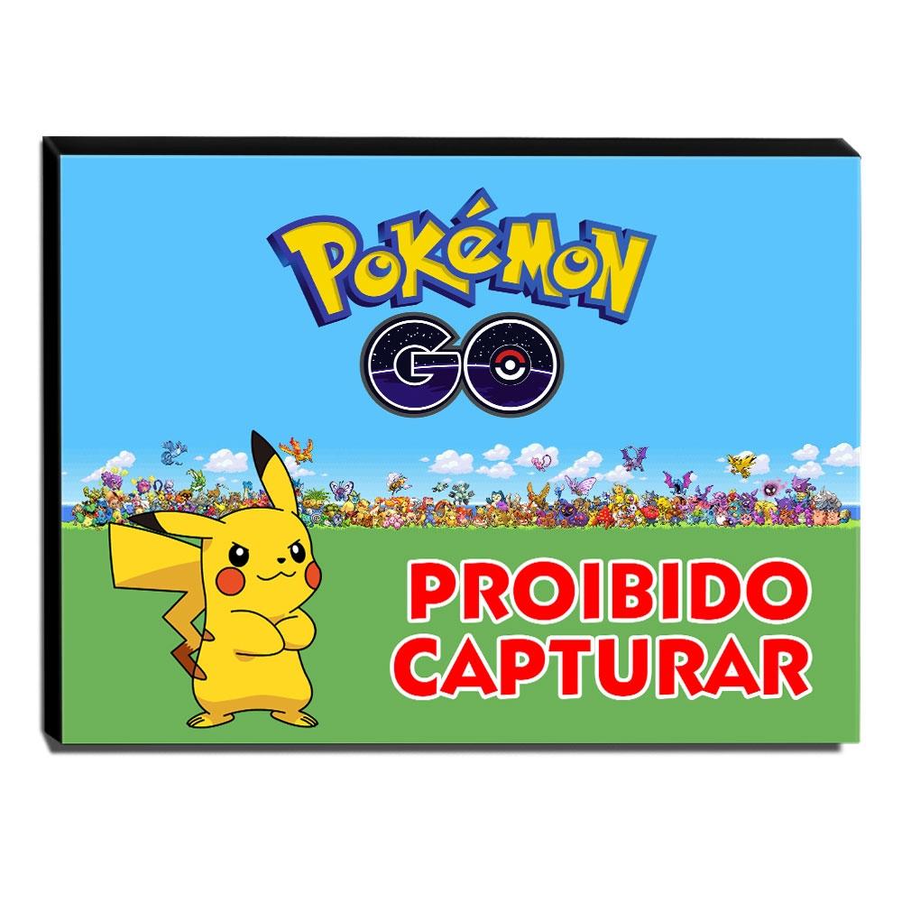 Quadro Pokémon GO Proibido Capturar Canvas 30x30cm-INF27