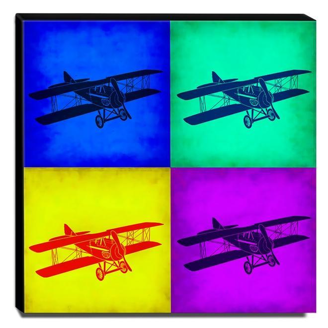 Quadro Pop Art Avião Canvas 30x30cm-QP25