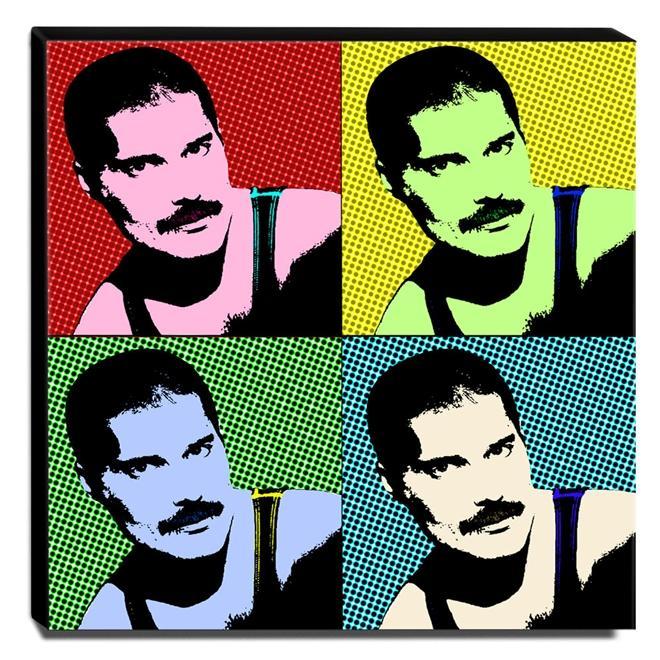Quadro Pop Art Freddie Mercury Canvas 30x30cm-QP14