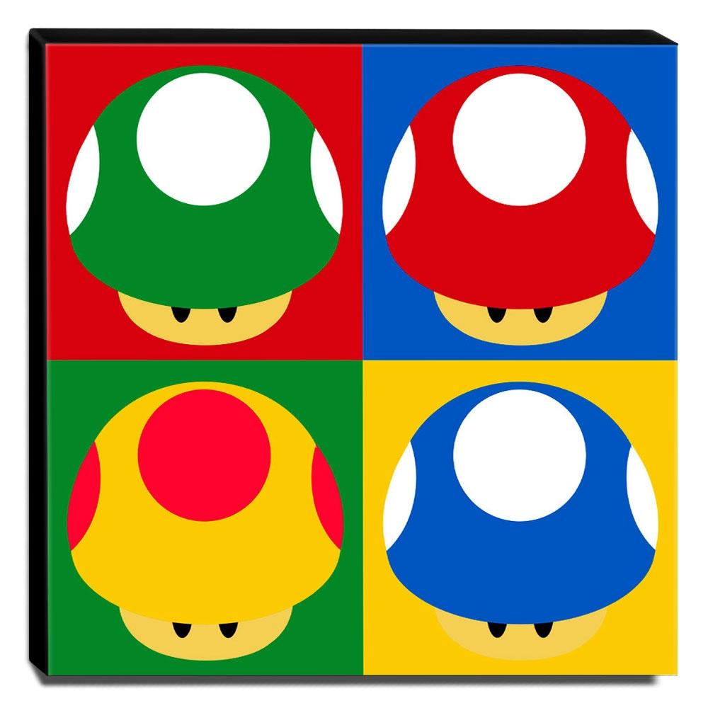 Quadro Pop Art Toad Cogumelo Mario Canvas 30x30cm-QP23