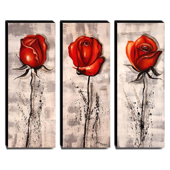 Quadros de Pintura Rosas Vermelhas 105x40cm-1532