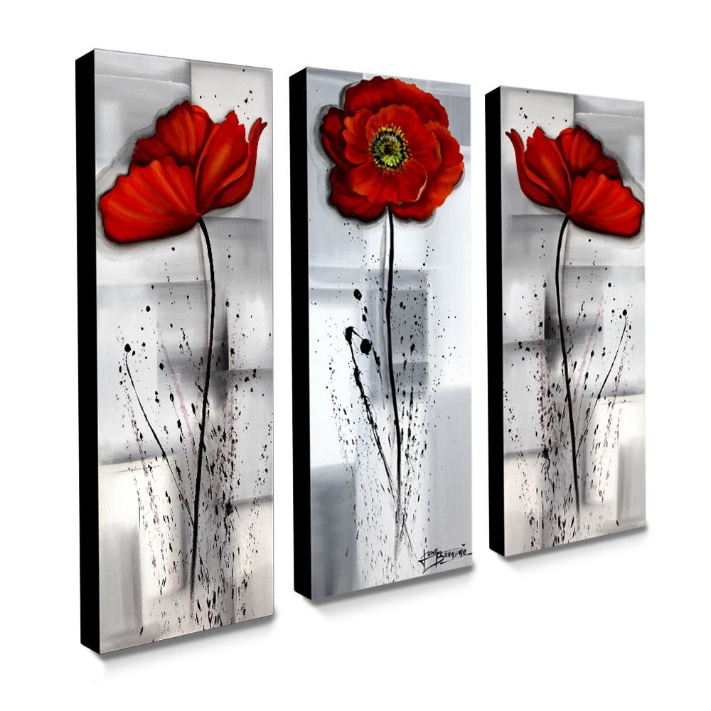 Trio de Quadros Decorativos Canvas Papoulas 105x40cm cada