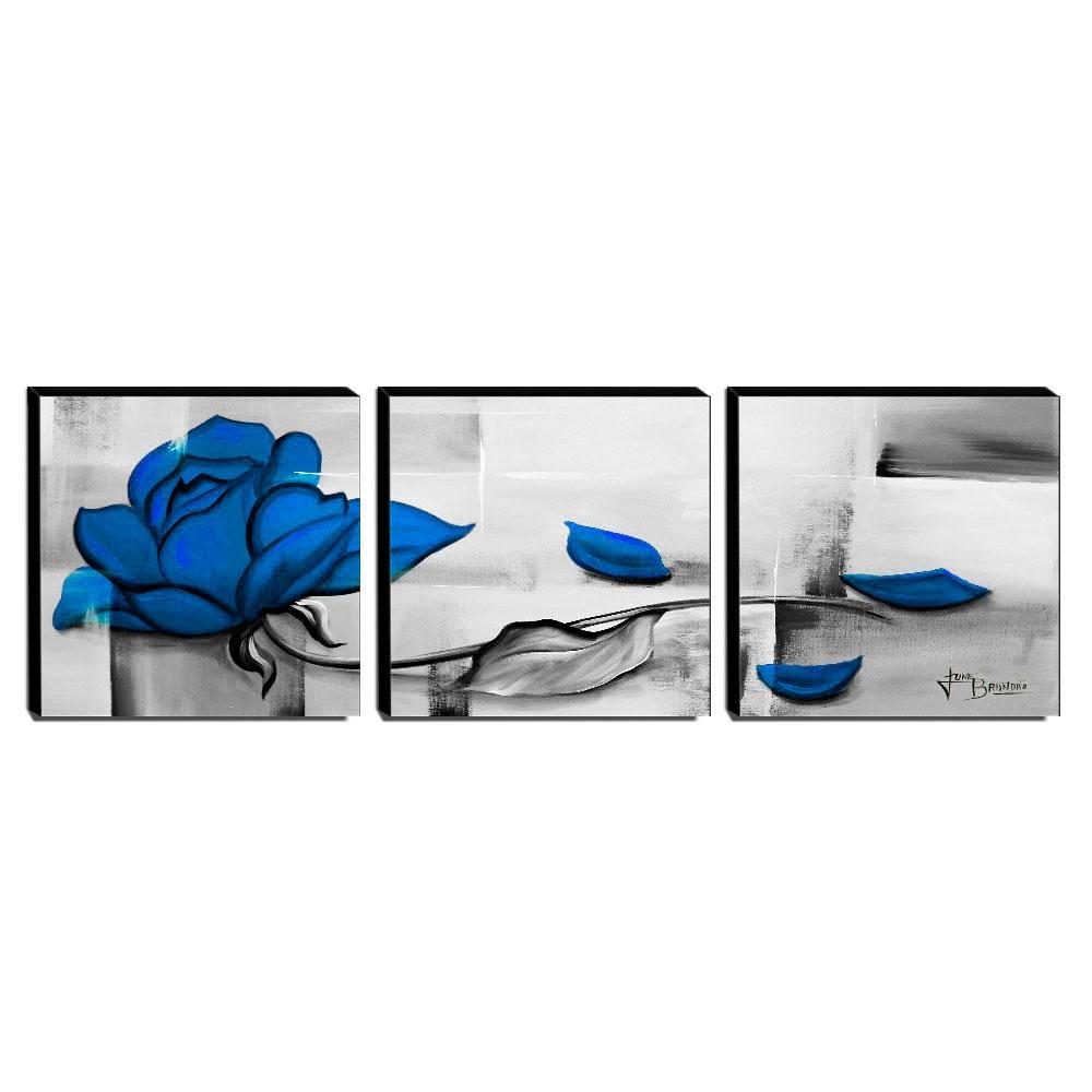 Trio de Quadros Decorativos Canvas Rosa Azul 60x60cm Cada-QF5T-60