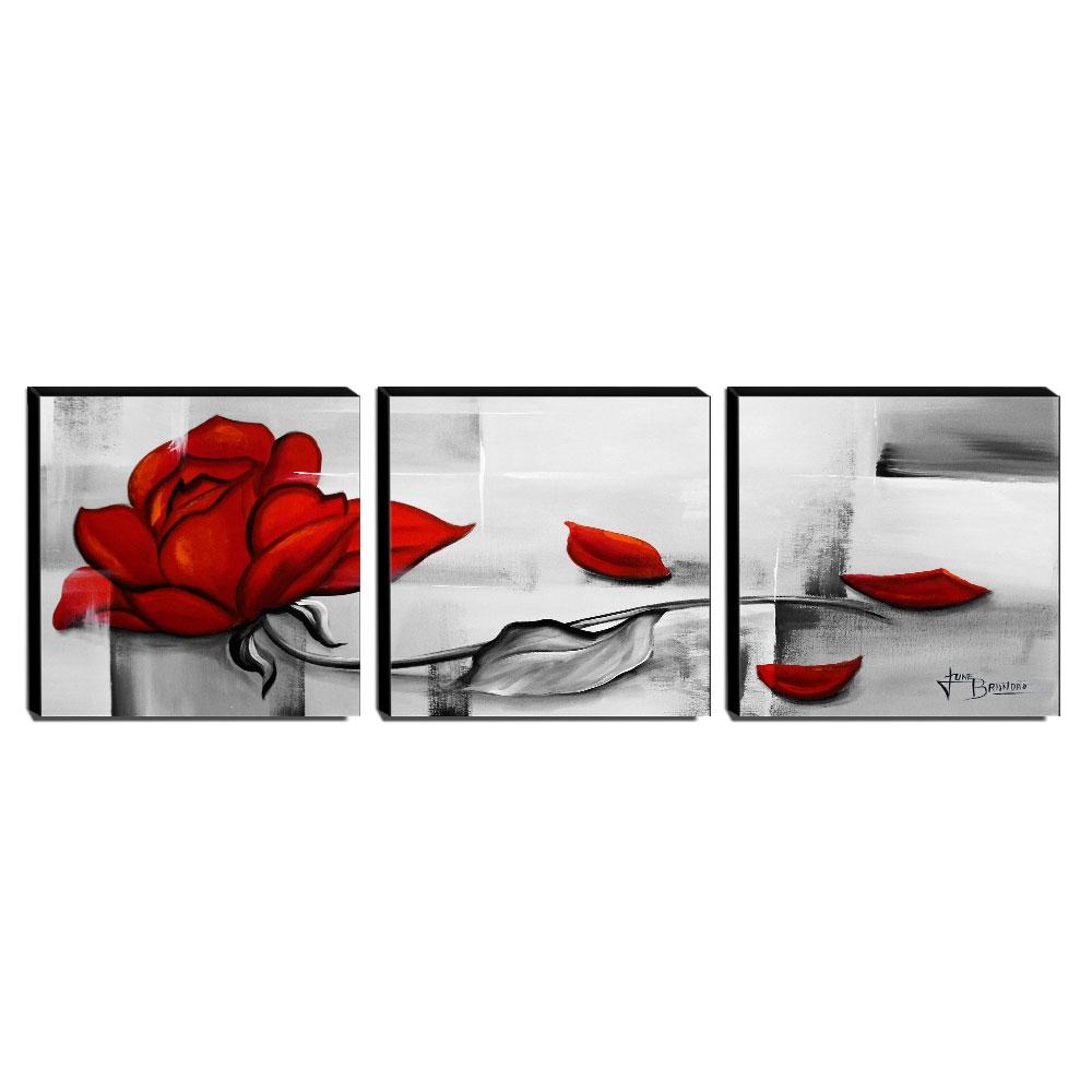 Trio de Quadros Decorativos Canvas Rosa Vermelha 60x60cm Cada-QF1T-60