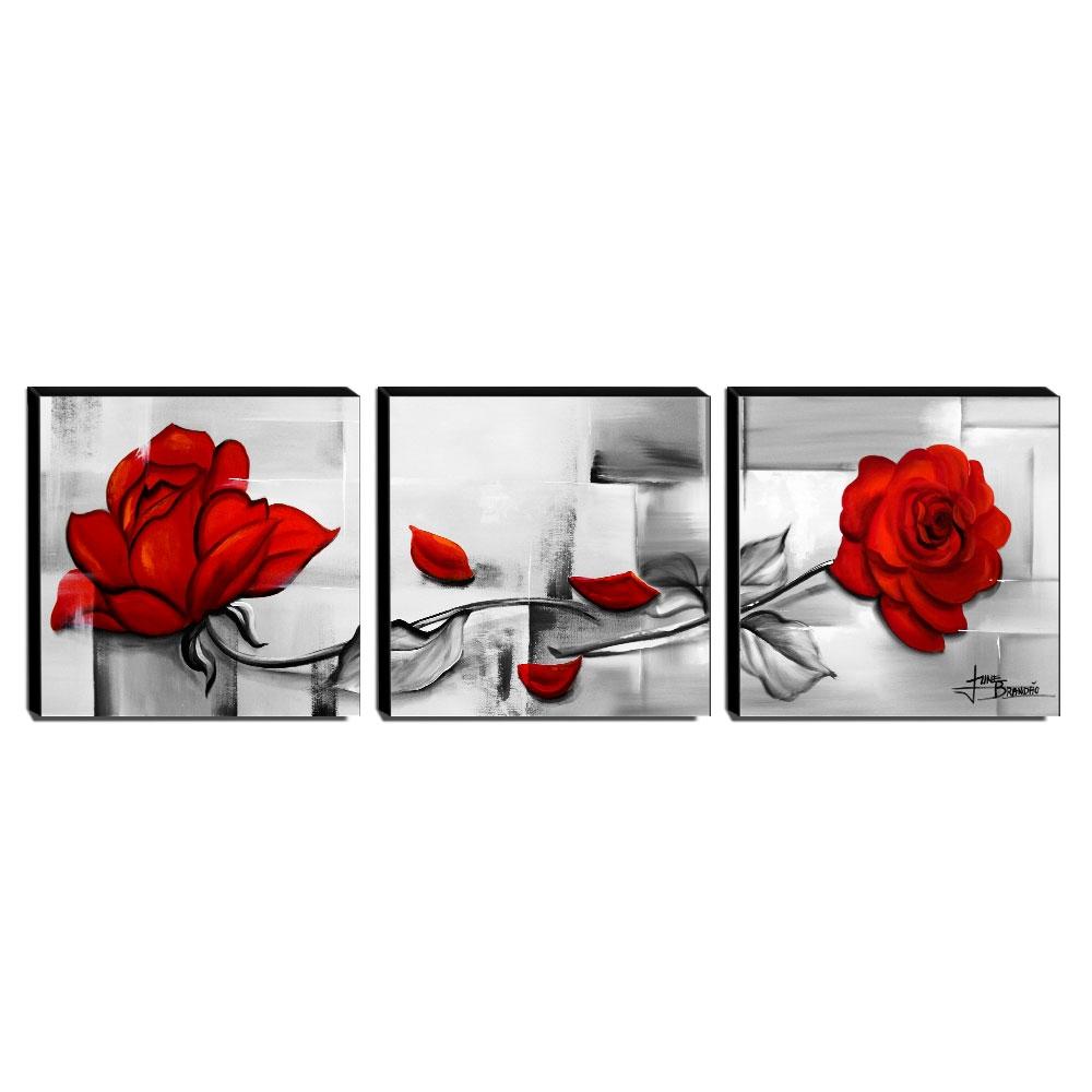 Trio de Quadros Decorativos Canvas Rosas Vermelhas 60x60cm Cada-QF2T-60