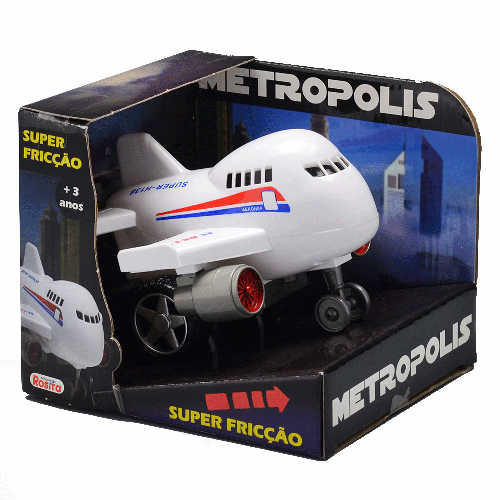 Avião Fricção Metropolis Brinquedos Rosita Branco