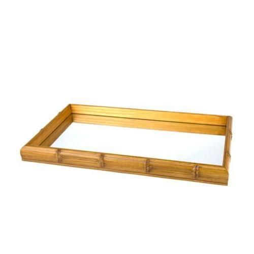 Bandeja de madeira com espelho