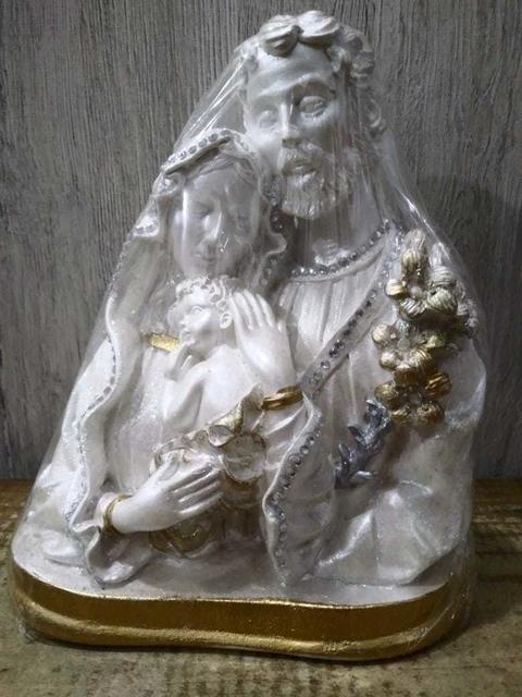 Busto Sagrada Família -Perolizada 313 Gesso 18cm