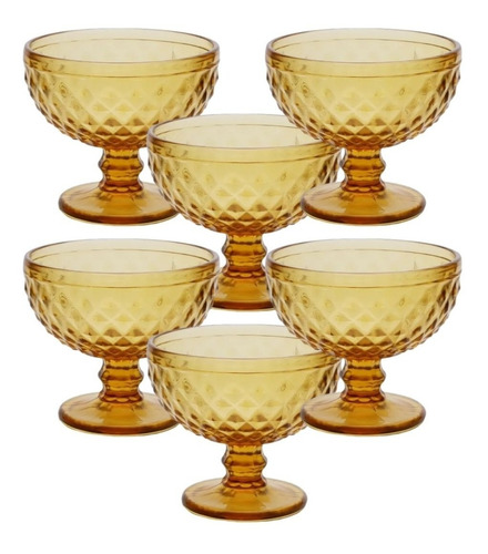 Cj 6 Taças De Acrílico Âmbar 325ml Dourado