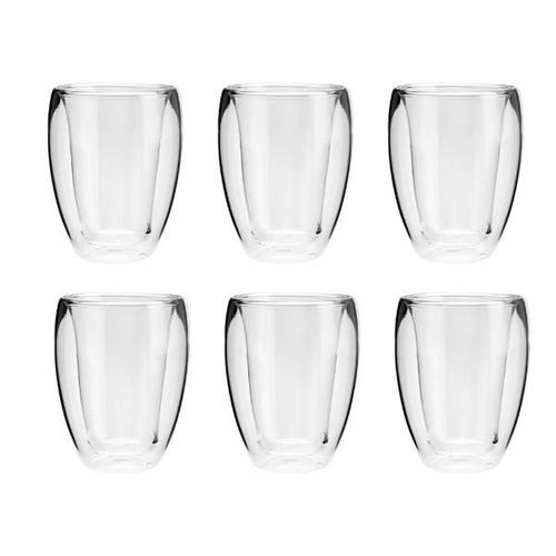 Conjunto 6 Copos para Chá Dupla Parede Lyor de Vidro Transparente 290Ml