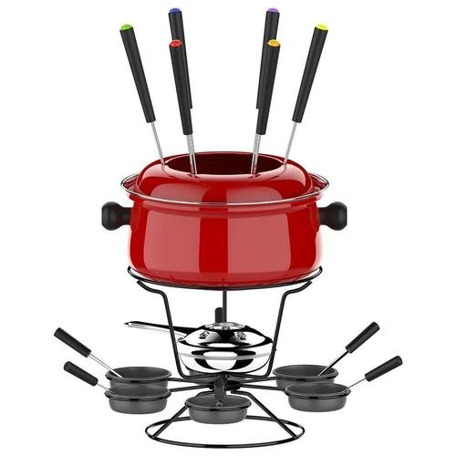 Conjunto de fondue médio com base giratória - 22 pç Vermelha