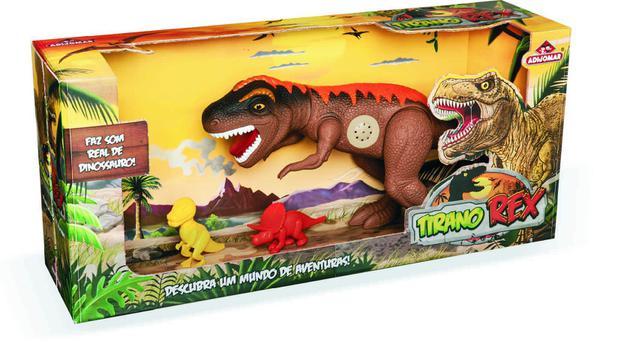 Dinossauro com Som Tirano Rex Bee Toys - Adijomar Com 2 Filhotes