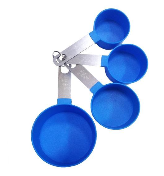 Kit Copos Medidores 4 Pçs Azul Colher Xícara 59 78 118 236ml
