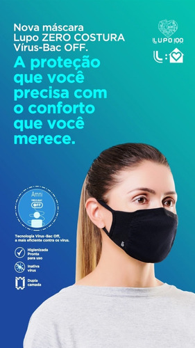 Máscara Lupo - Com 2 Unidades,Original Dupla Camada.