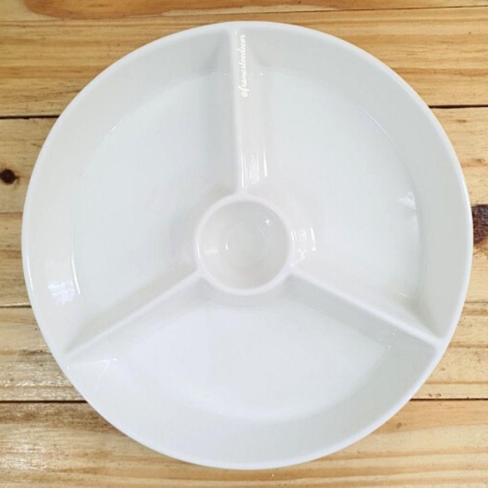 Petisqueira C/4 Divisórias De Porcelana Kansas Lyor Branco