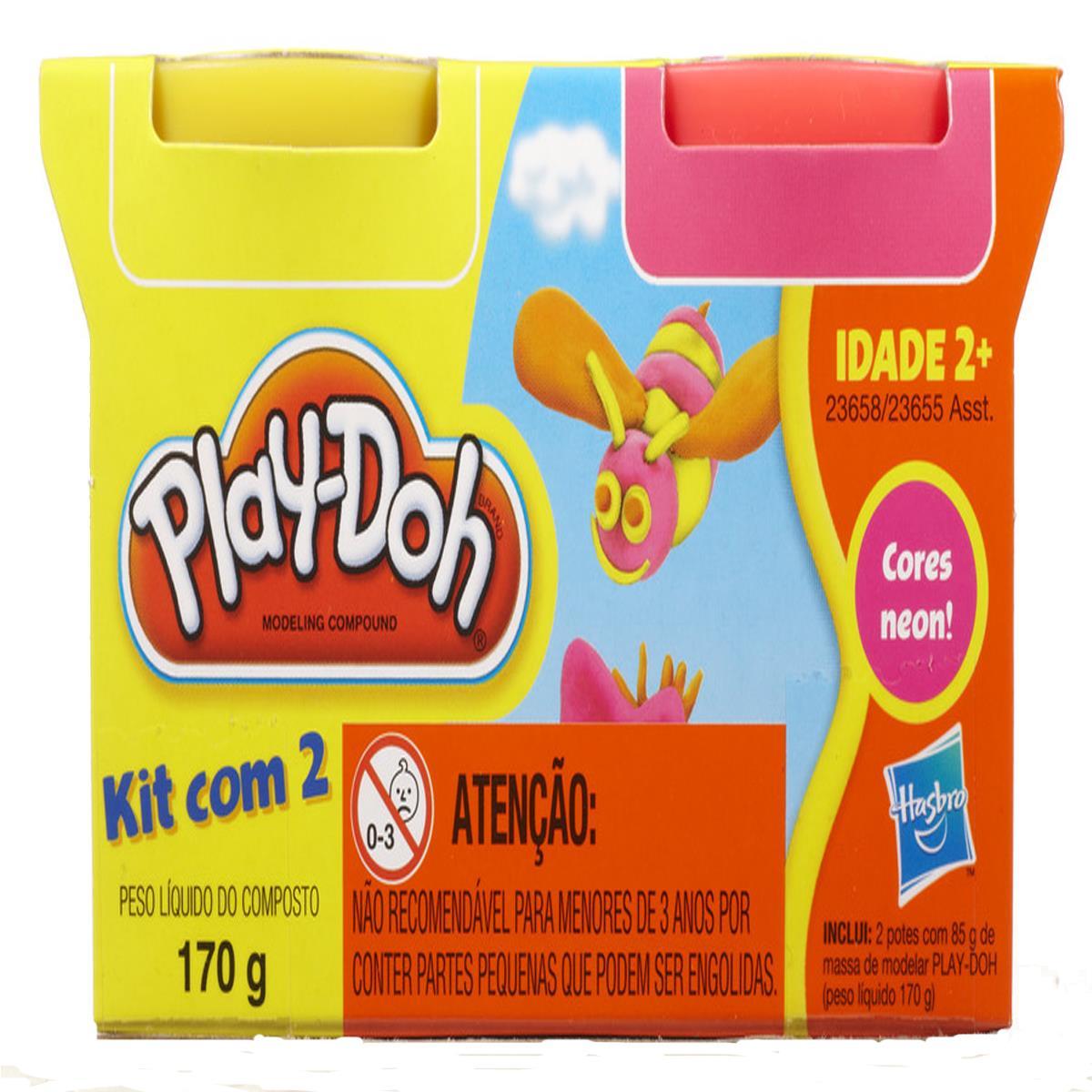 Play- Doh  2 Potes -Hasbro  Cores Sortidas