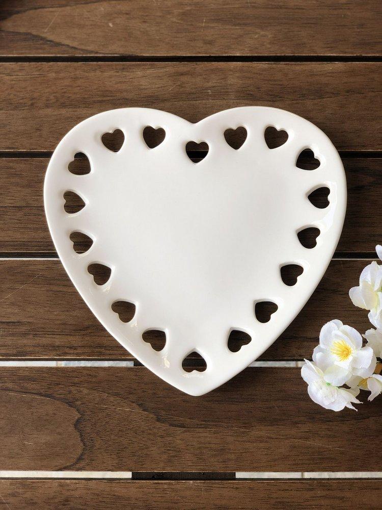 Porta Anéis de Cerâmica Coração Lyor Branco