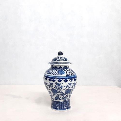 Pote Potiche Decorativo Azul E Branco Mabruk 20x14cm