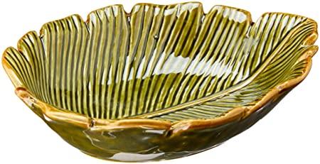 Prato Decorativo De Cerâmica Banana Leaf Lyor verde 16x12x4cm