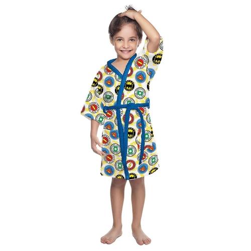 Roupão Felpudo Infantil Lepper Quimono Liga Da Justiça Azul  (TamG 8-10 anos)