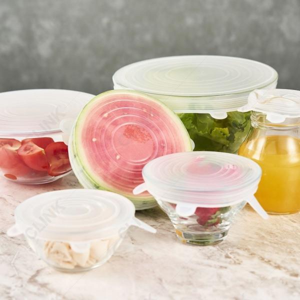 Tampas Veda Tudo De Silicone Reutilizável Clink Kit com 6