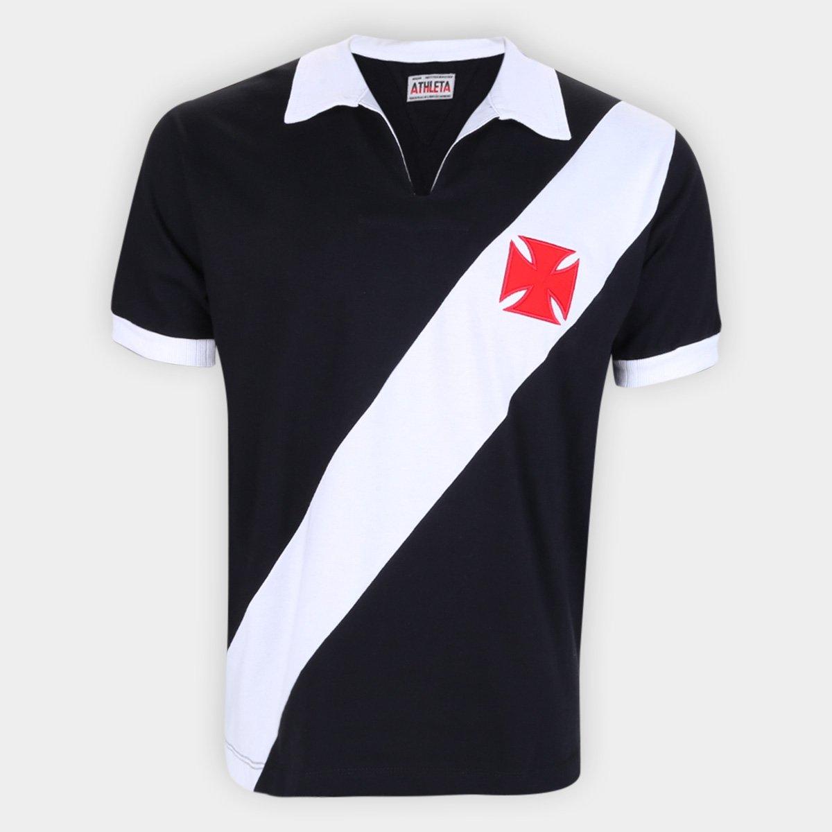 Camisa Athleta Retrô Masculina Anos 60 - Preta