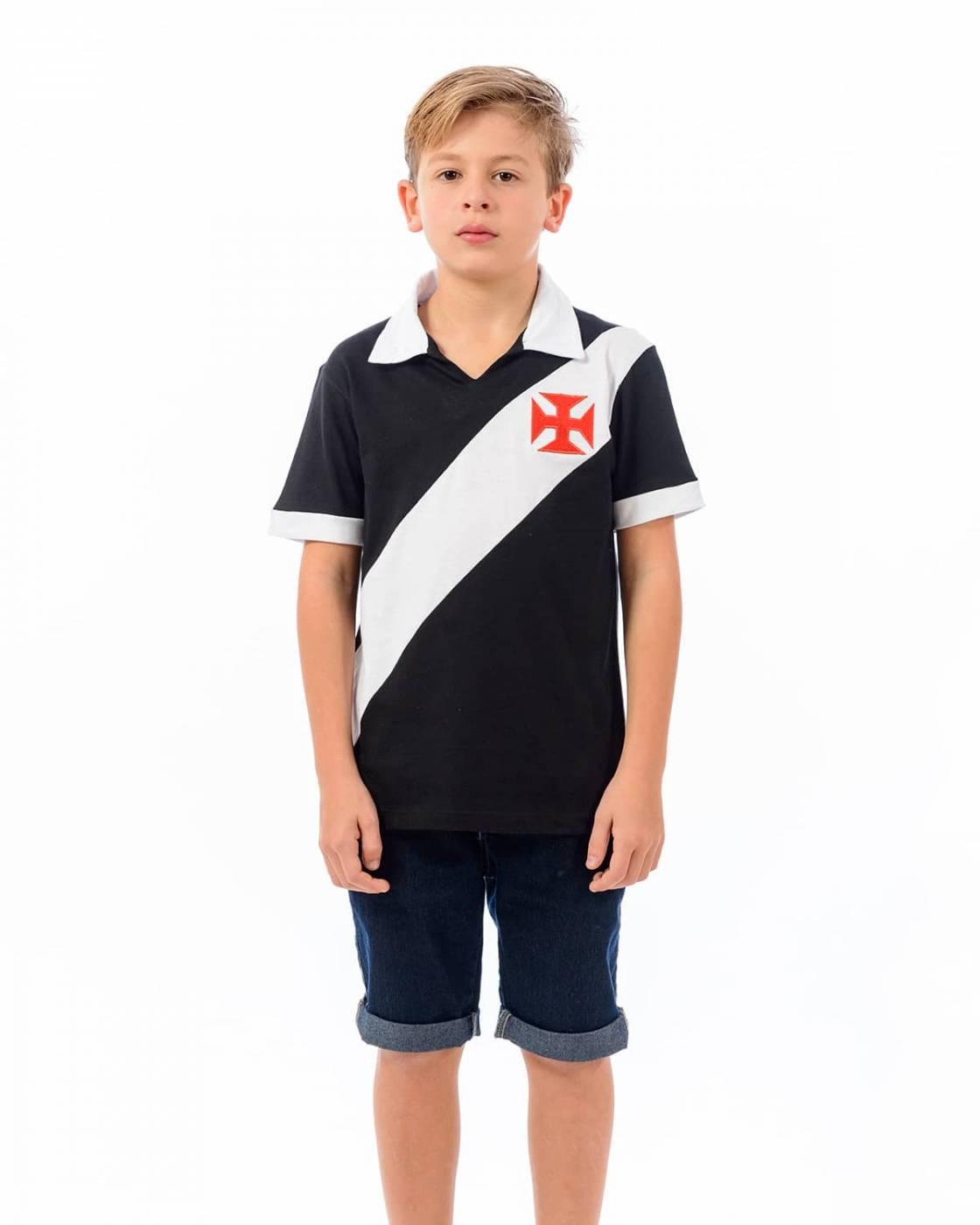 Camisa polo Vasco infantil Paris - preto