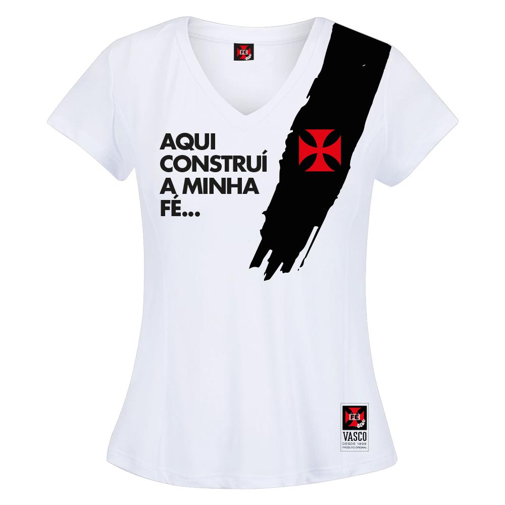 Camisa Vasco Feminina Pincelada Branca Fé