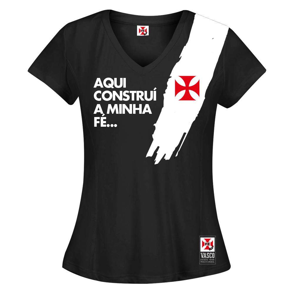 Camisa Vasco Feminina Pincelada Preta Fé